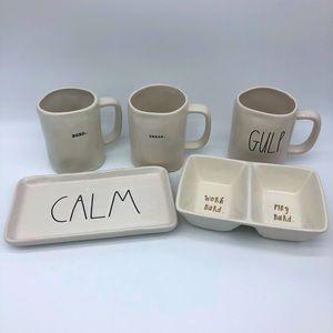 Rae Dunn collection 3 mugs + 2 trays set